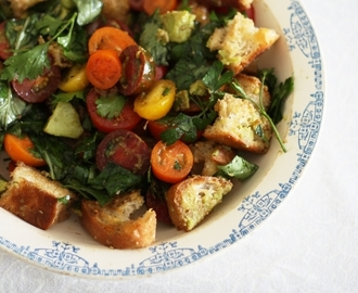 Bakers Delight ciabatta loaf – Panzanella (tomato bread salad)