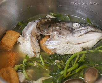 Fish head soup in chrysanthemum tea