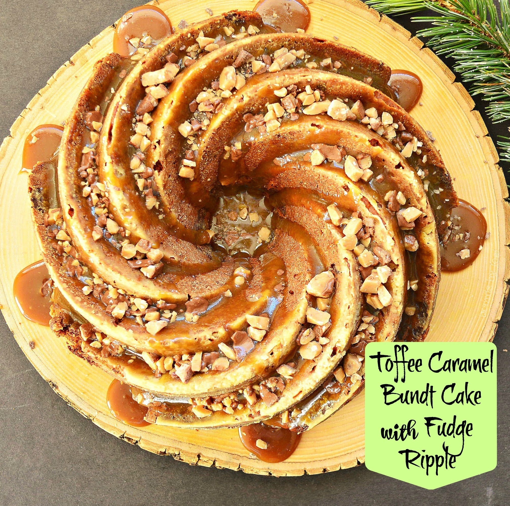 Toffee Bundt Cake with a Fudge Ripple and a Caramel Glaze #peoplehoodofthetravellingswirlypan