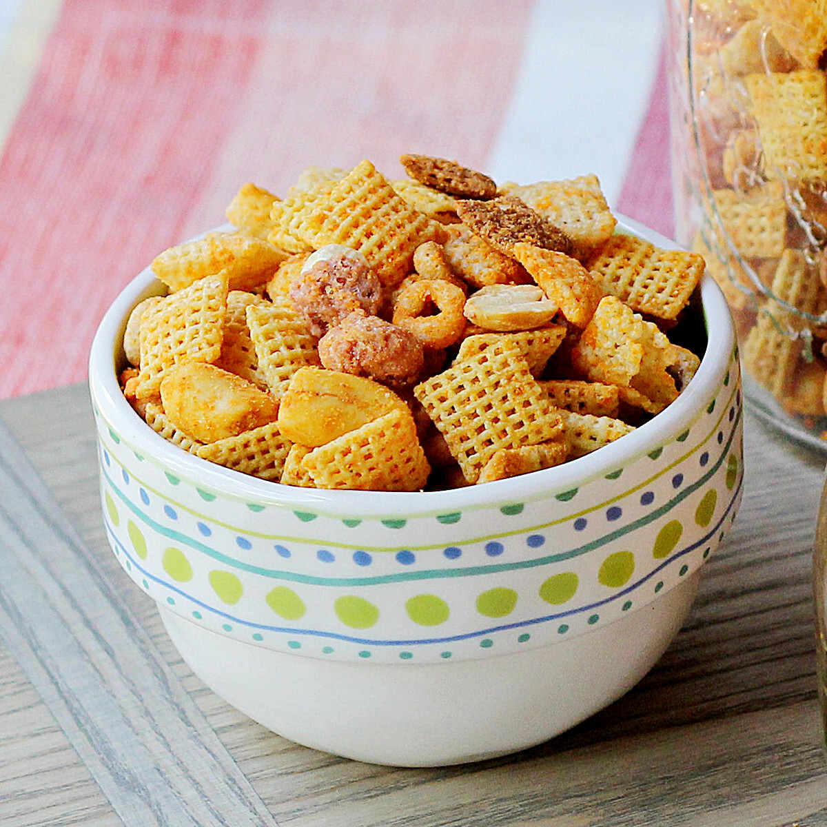 Cheesy, Spicy, Sweet and Nutty Snack Mix