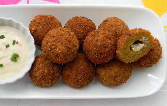 Indian Spiced Rice Balls with a Ginger/Lime Yogurt Dipping Sauce.