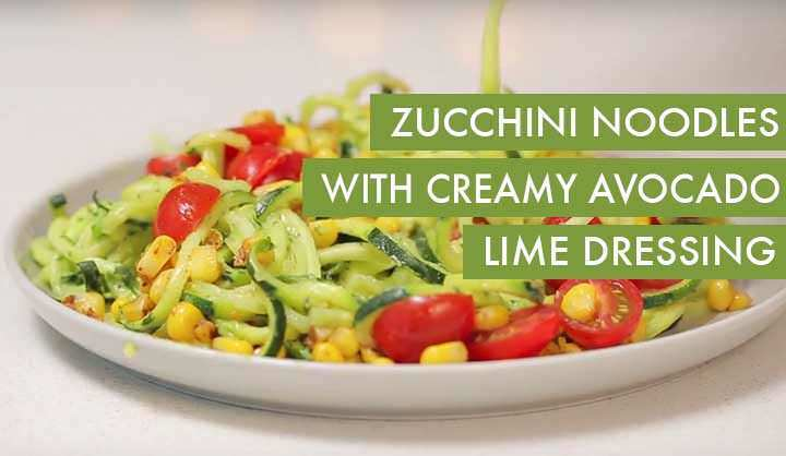 #EverydayInspiralized: Zucchini Noodles with Creamy Avocado Lime Cilantro Dressing, Corn and Tomatoes