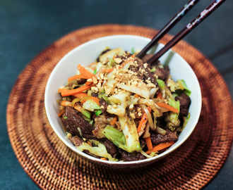 Beef and Vegetable Stir Fry in Peanut Sauce