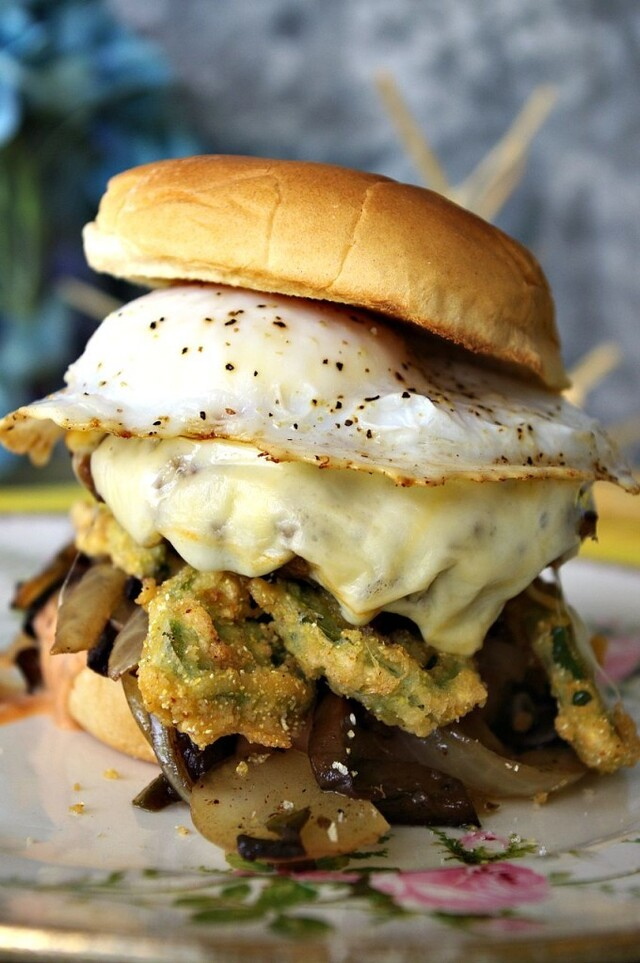 Muenster Burger with Balsamic Caramelized Onions and Mushrooms, Crispy Jalapenos (with a Fried Duck Egg)
