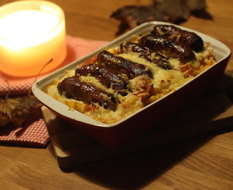 sausage and squash macaroni cheese: british sausage week.