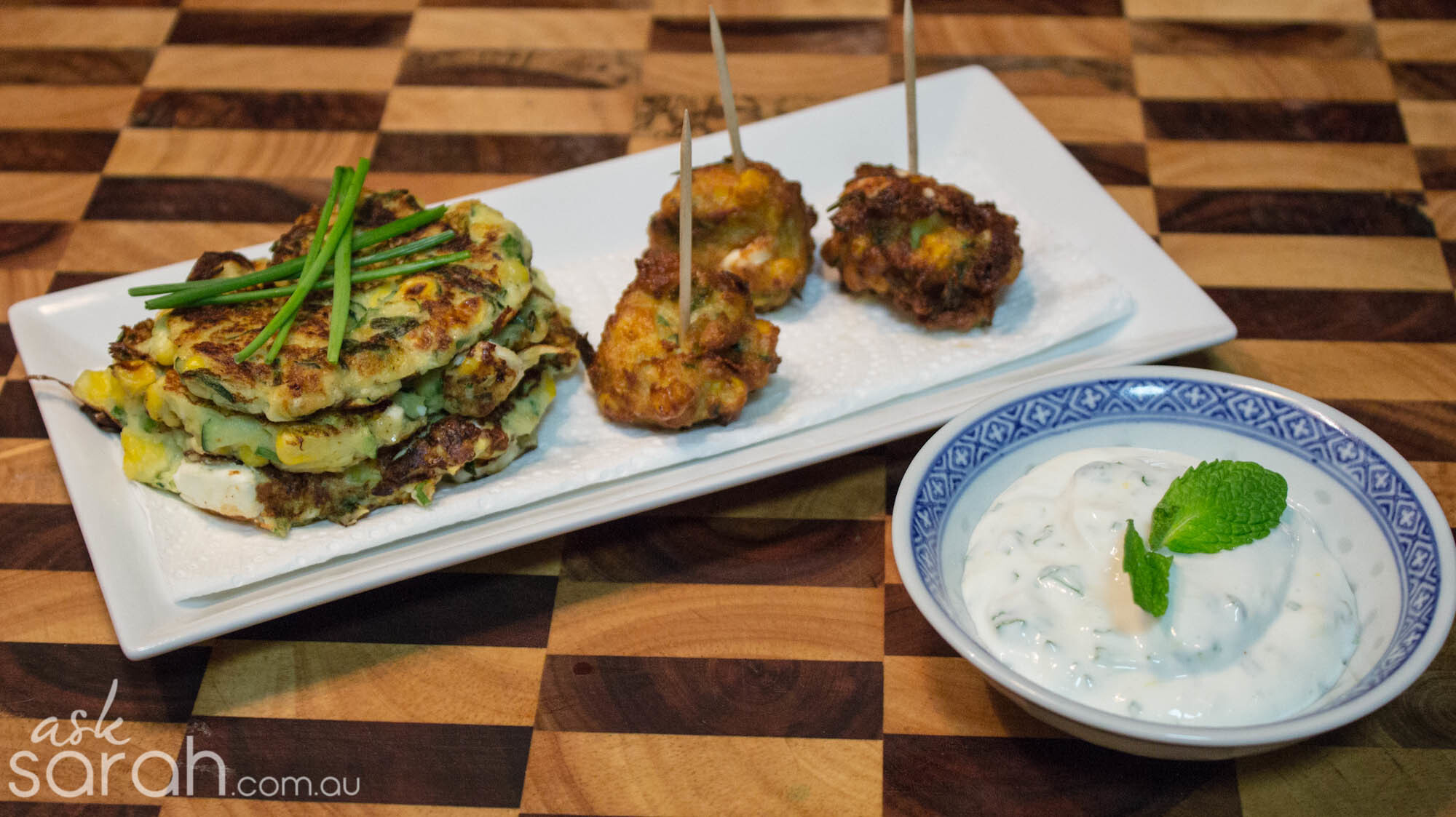 Recipe: Corn, Zucchini and Fetta Fritters Two Ways