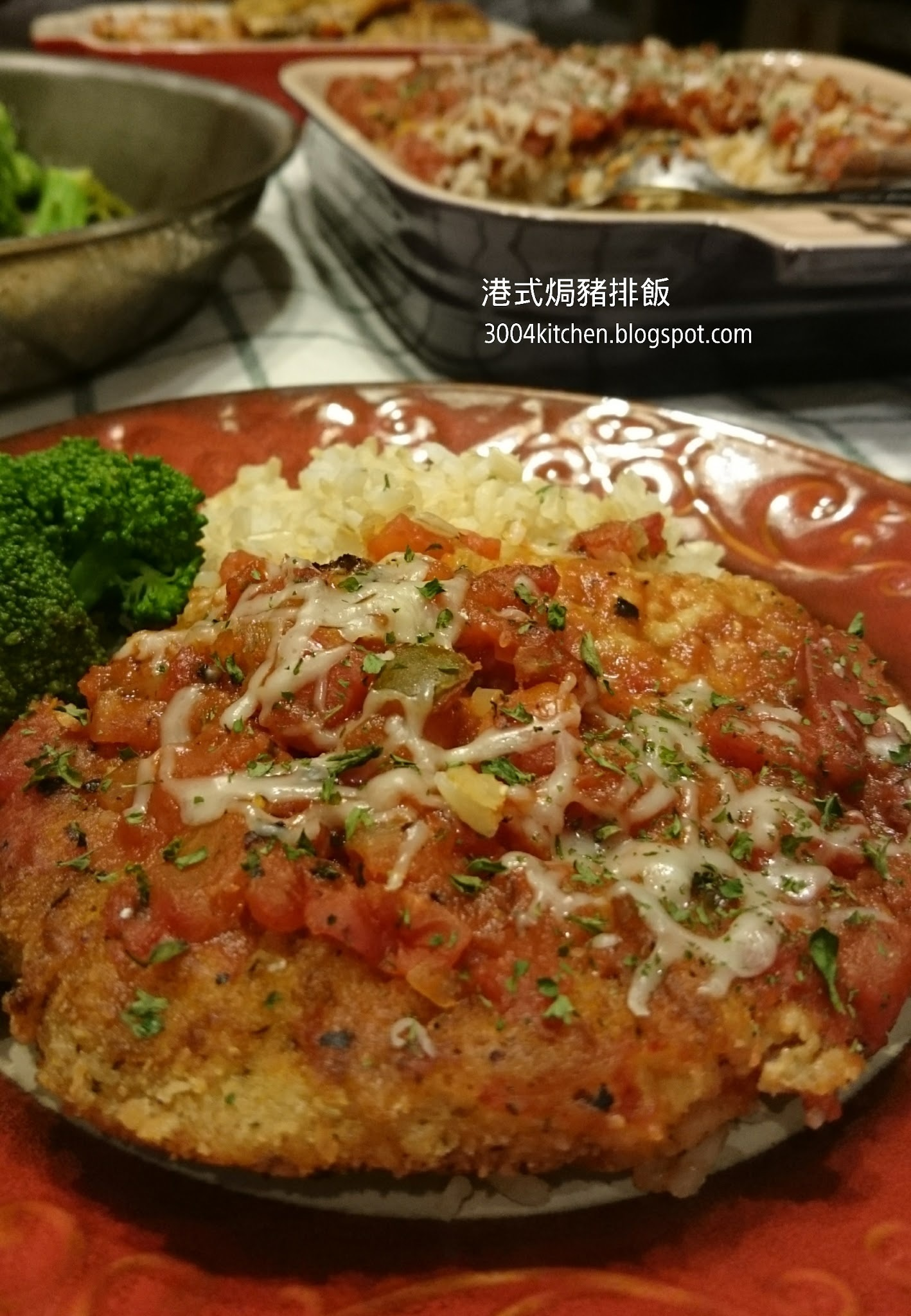 港式烤豬排飯 Bake Pork Chop Loin Rice in Tomato Sauce
