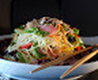Beef Soba Noodle Salad with Mango Ginger Dressing