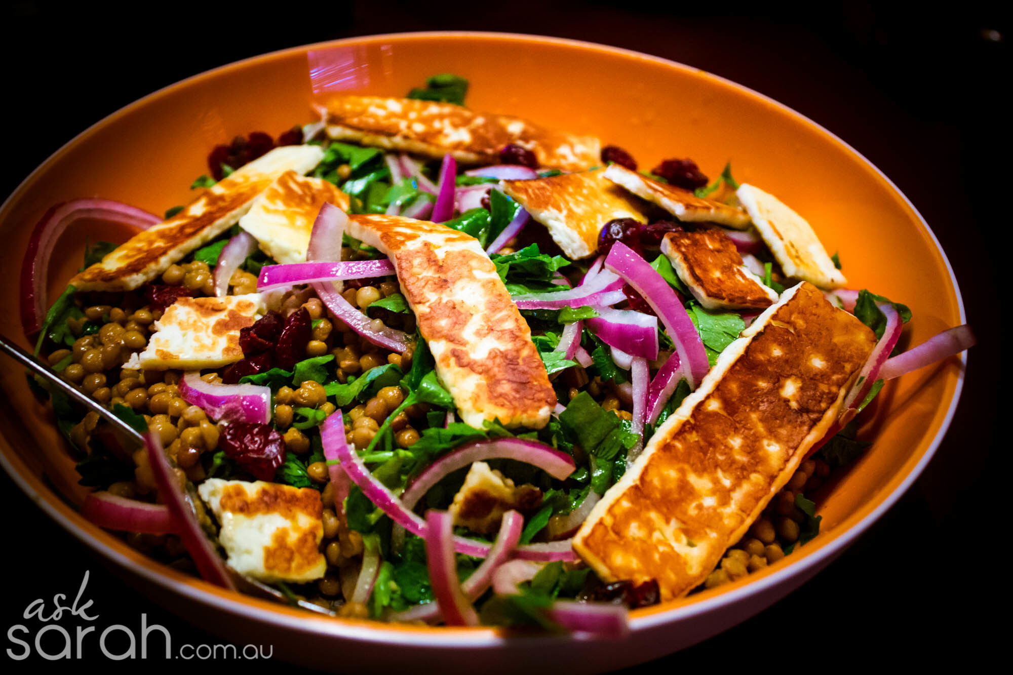 Recipe: Warm Lentil, Cranberry & Haloumi Salad