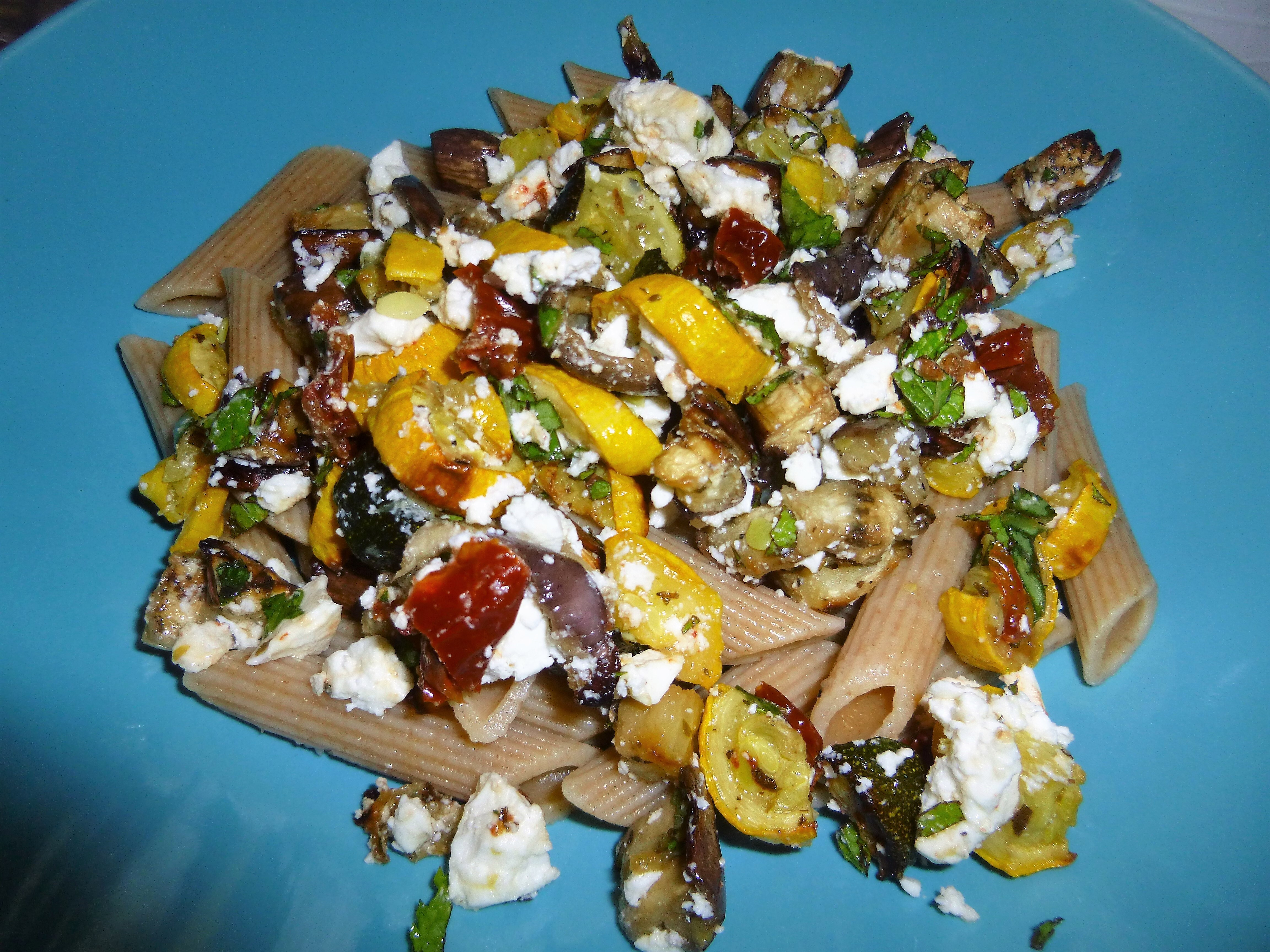 Roasted Garden Vegetables with Whole Wheat Pasta, Goats Cheese and a Lemon and Balsamic Dressing Recipe