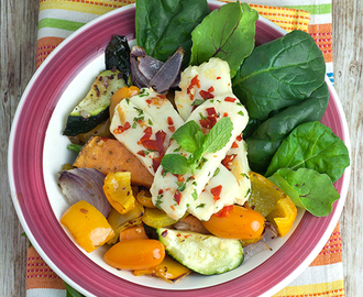 Mint & Chilli Haloumi with Roast Vegetable Salad