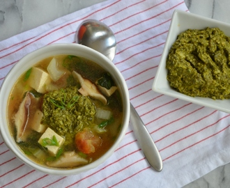 Asian Vegetable Soup with Asian Pesto