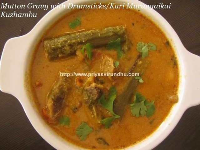 Mutton Gravy with Drumsticks and Potato/Kari Murungaikai Kuzhambu/Sunday Special Mutton Kuzhambu/South Indian Style Mutton Kuzhambu