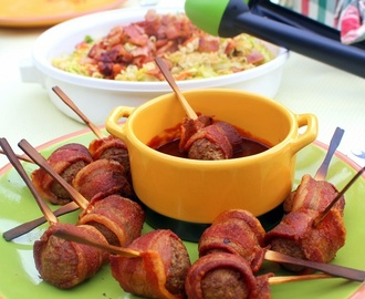 Moink Balls - IMPOSSIBLY EASY Bacon Wrapped Meatball appetizers - 52 SIMPLE Appetizer Recipes