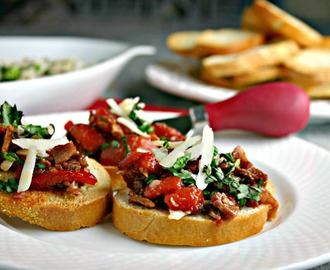 Roasted Red Pepper and Bacon Bruschetta