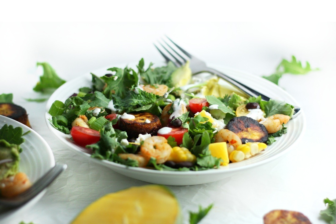 Mango Shrimp Salad with Creamy Feta Dressing and Fried Plantains