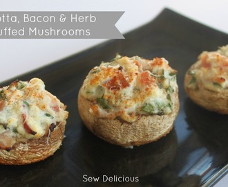 Ricotta, Bacon & Herb Stuffed Mushrooms - Recipe
