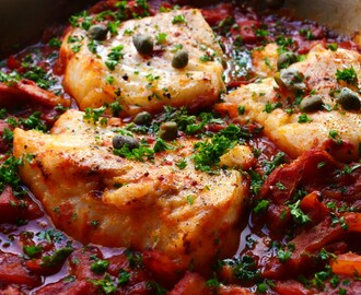 Baked Cod fish with Capers and Peppers