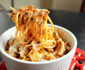 Baked Spaghetti Casserole with Andouille Sausage