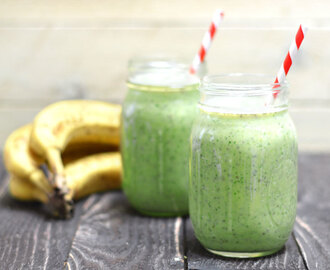 Power Green Breakfast Smoothie (with Peanut Butter, Banana, and Chia Seeds)