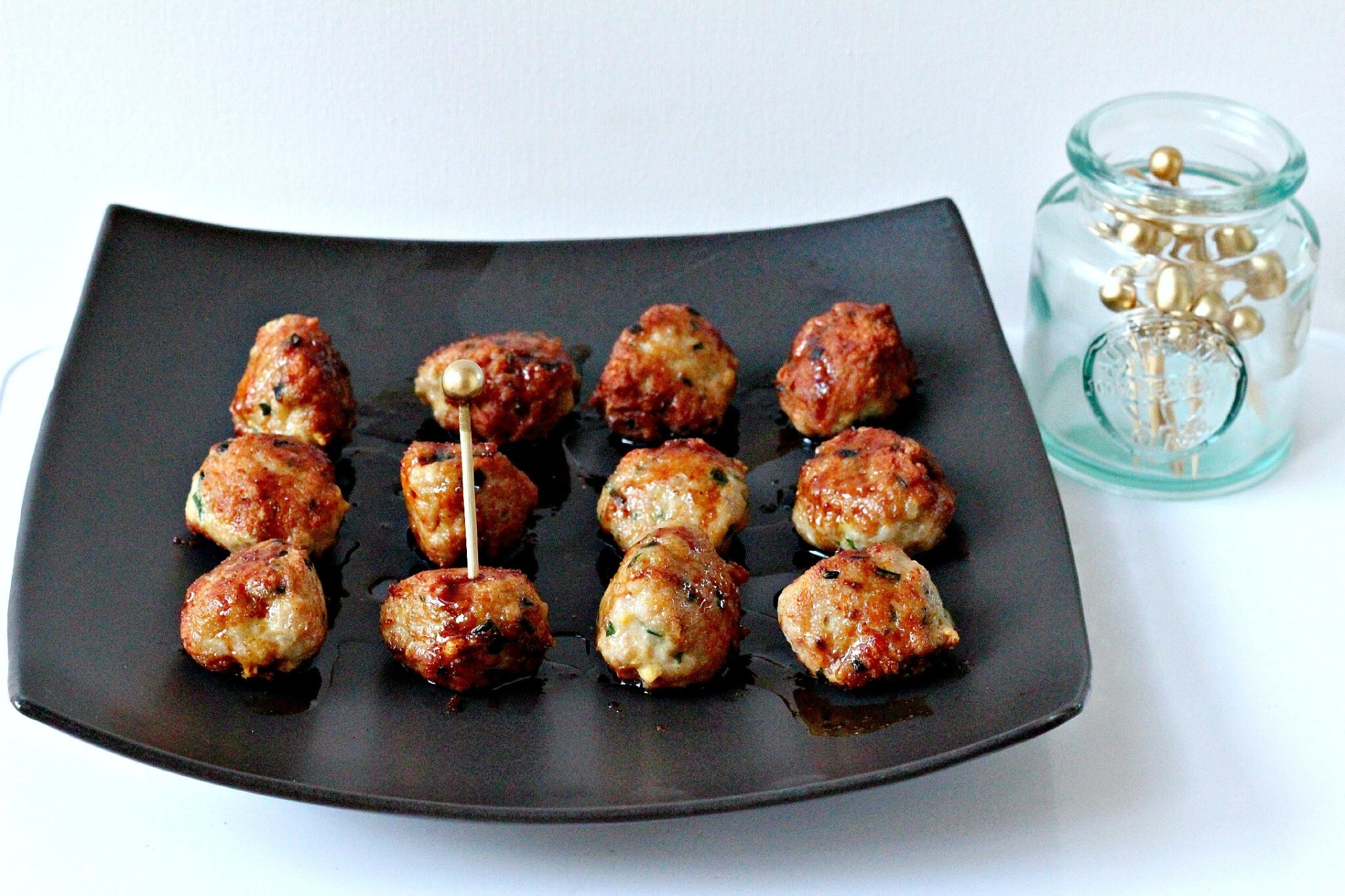 Chicken and Chive Meatballs with Soy and Ginger Glaze
