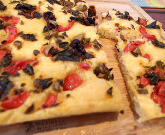 Potato Focaccia with Tomato, Oregano and Olives