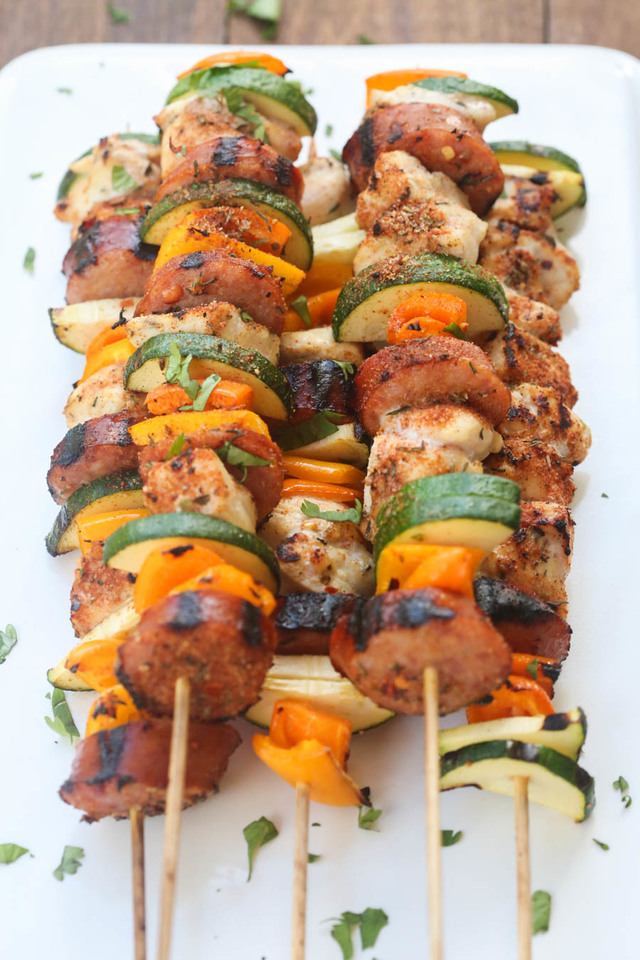 Cajun Chicken and Sausage Kebabs