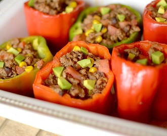 Burrito bowl Stuffed Peppers {Paleo, Vegan + Whole 30 Options!}