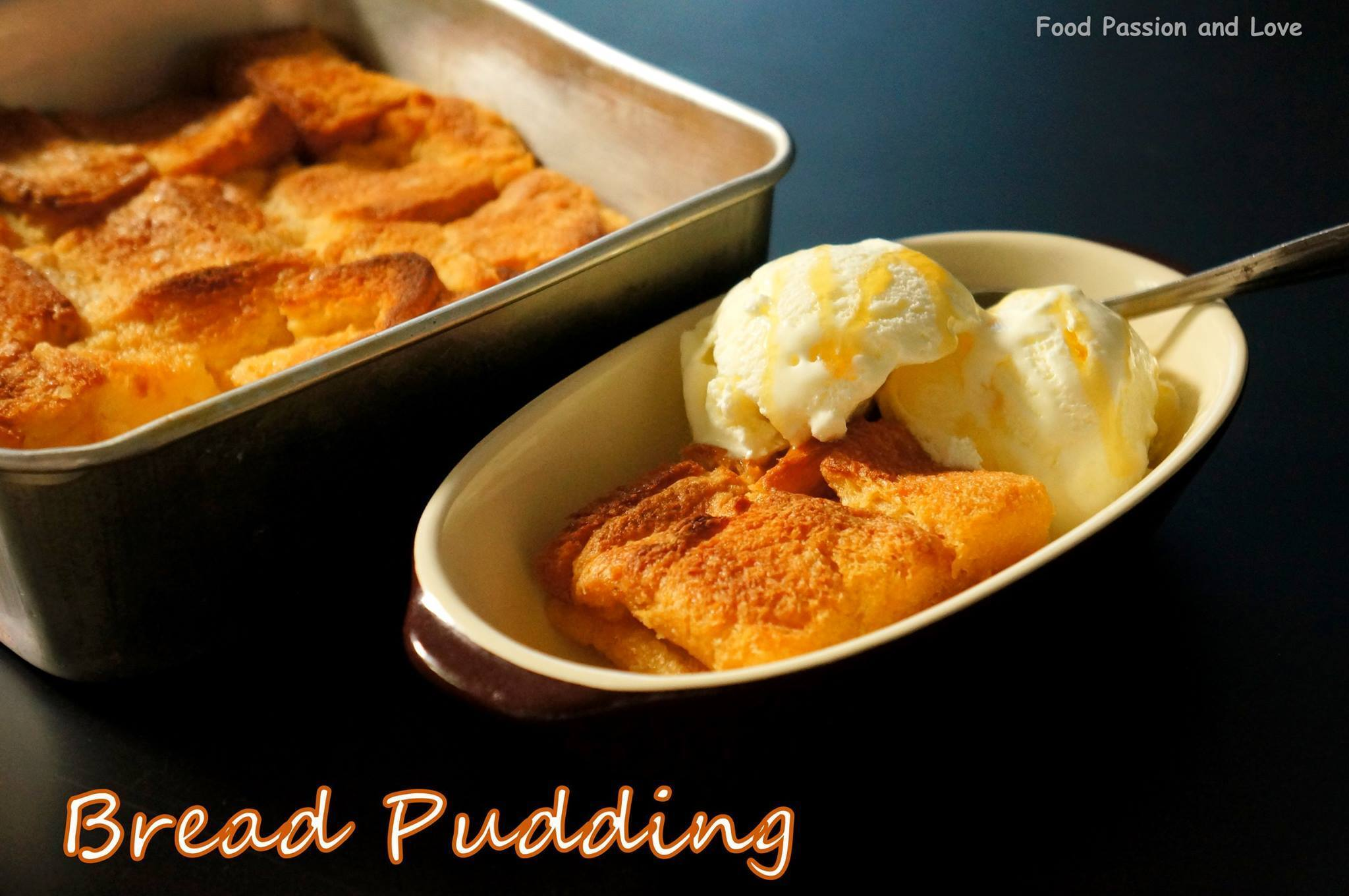 BAKED EGGLESS BREAD PUDDING