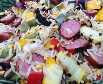 Grilled Kielbasa & Vegetable Orzo Salad
