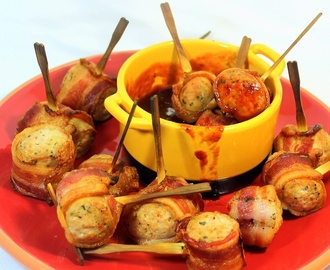 CLOINK Balls - IMPOSSIBLY EASY Bacon Wrapped Chicken Sausage Appetizers - 52 SIMPLE Appetizer Recipes
