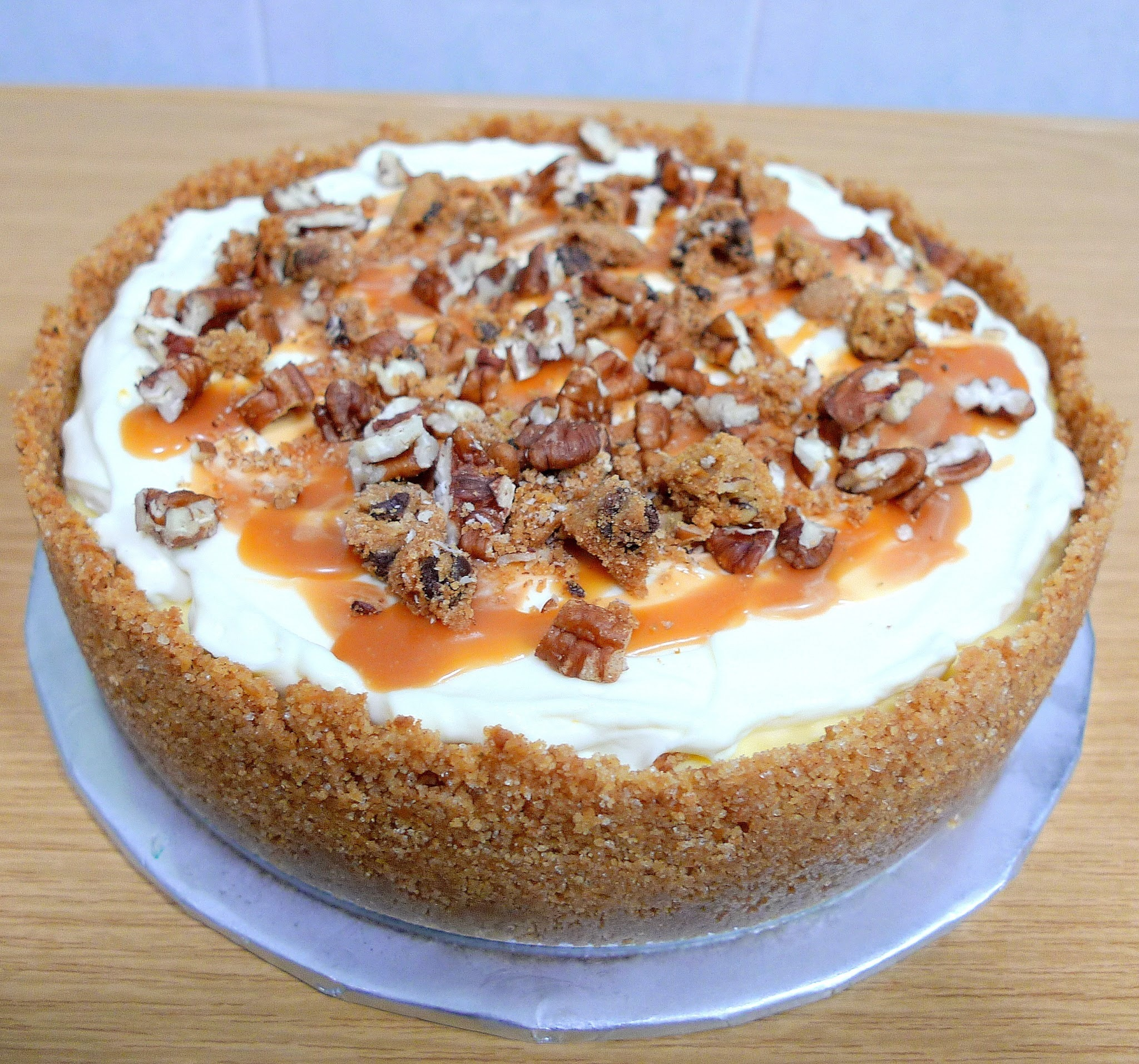 Salted Caramel Apple Pecan Cheesecake Pie