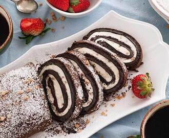 Gluten Free Chocolate Toffee Roll Cake