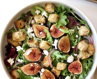 Roasted Fig and Goat Cheese Salad with Black Pepper Croutons
