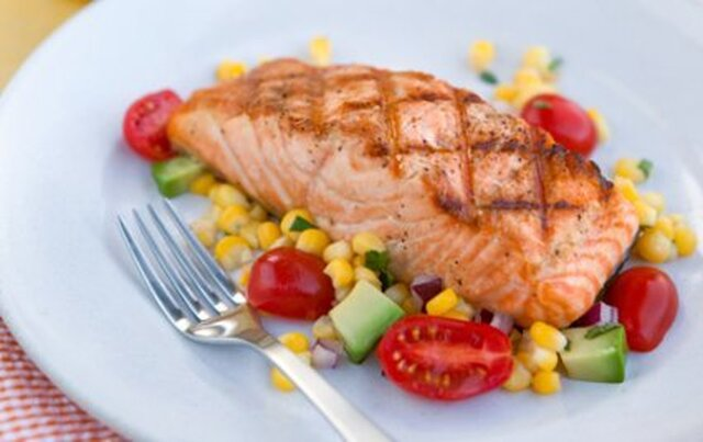 Grilled Salmon with Sweet Corn, Avacado, and Cherry Tomato Salad