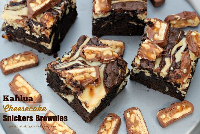 Kahlua Cheesecake Snickers Brownies