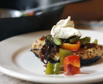 Grilled Tequila Chicken with Sauteed Peppers & Onions #The Dash Diet 30-Minute Cookbook by Christy Ellingsworth