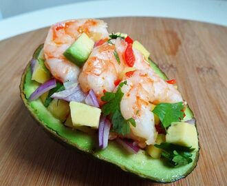 Sweet Chilli Prawns with Avocado and Mango Salad