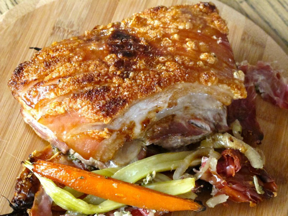 {Guest Post} Roast Pork Belly with Prosciutto and Sage with a Shaved Fennel and Apple Salad