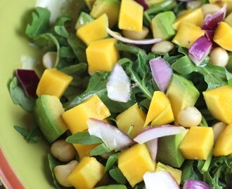 Arugula Salad with Avocado, Mango & Macadamia Nuts
