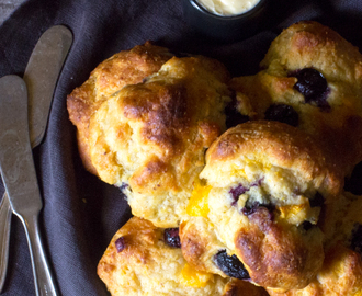 Einkorn Drop Biscuits with Peaches and Blueberries | #BreadBakers
