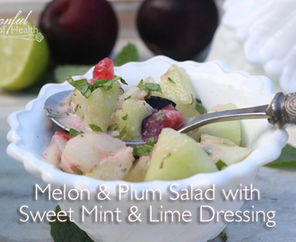Melon & Plum Salad with Sweet Mint & Lime Dressing {dairy & refined sugar free}