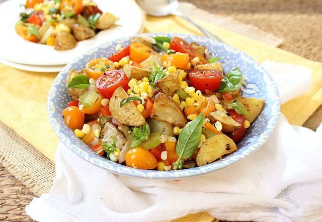 Roasted Potato Salad with Tomatoes, Peppers and Roasted Corn
