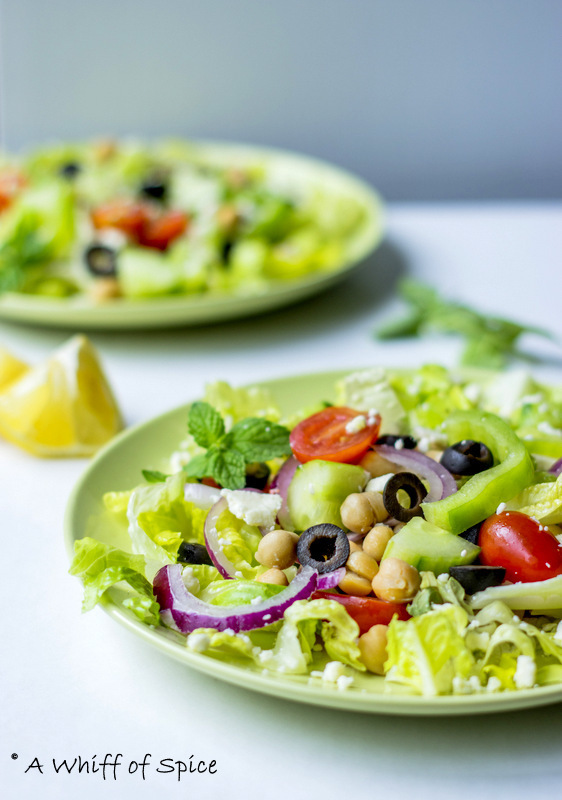 Greek Salad with Chickpeas and Mint