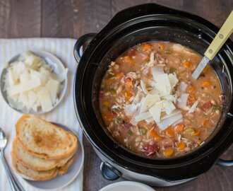 Slow Cooker Tuscan Chicken and White Bean Soup {Freezer Meal Friendly}