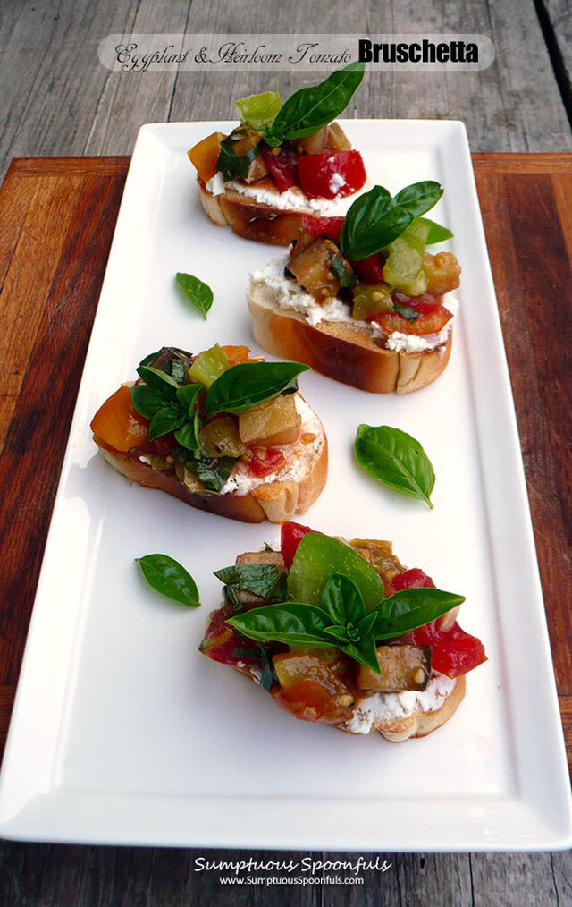 Eggplant & Heirloom Tomato Bruschetta