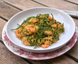 Prawn and samphire risotto / Risotto de camarões e salicornia.