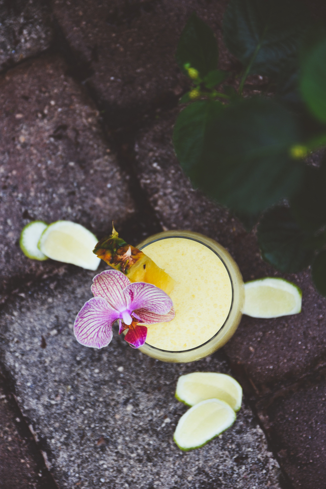 Comment on frozen pineapple, banana + coconut daiquiris | drinks from my dad's cocktail garden by white wine slushies with peaches, mate gin + blackberry liqueur | summer nostalgia + a big thanks | holly & flora