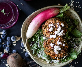 Spiced Quinoa Patties and a Beet Berry Smoothie