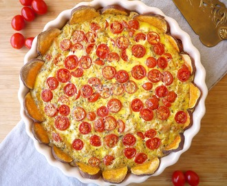 French Tomato, Tuna, & Mustard Quiche (paleo, GF)